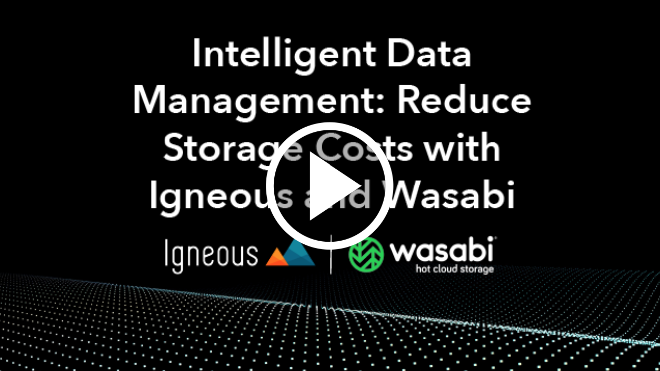 Wasabi Webinar – Intelligent Data Management: Reduce Storage Costs with Igneous and Wasabi
